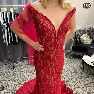 Red lace Jovani gown